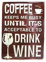 ステップス エンボスメタルサイン DRINK WINE