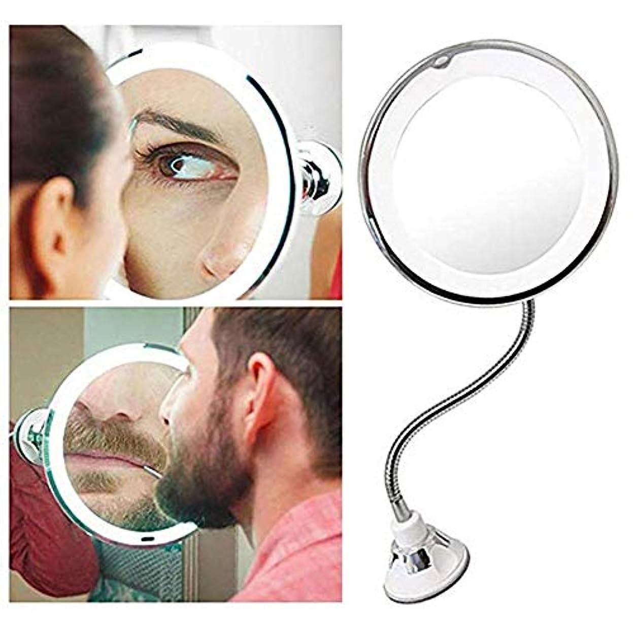 パーティション幹システム7倍 LED化粧鏡 風呂鏡 吸盤ロック付き 浴室鏡 化粧ミラー 360度回転 メイクミラー LUERME 吸盤ロック付き 化粧ミラー シャワーミラー 鏡面直径17CM