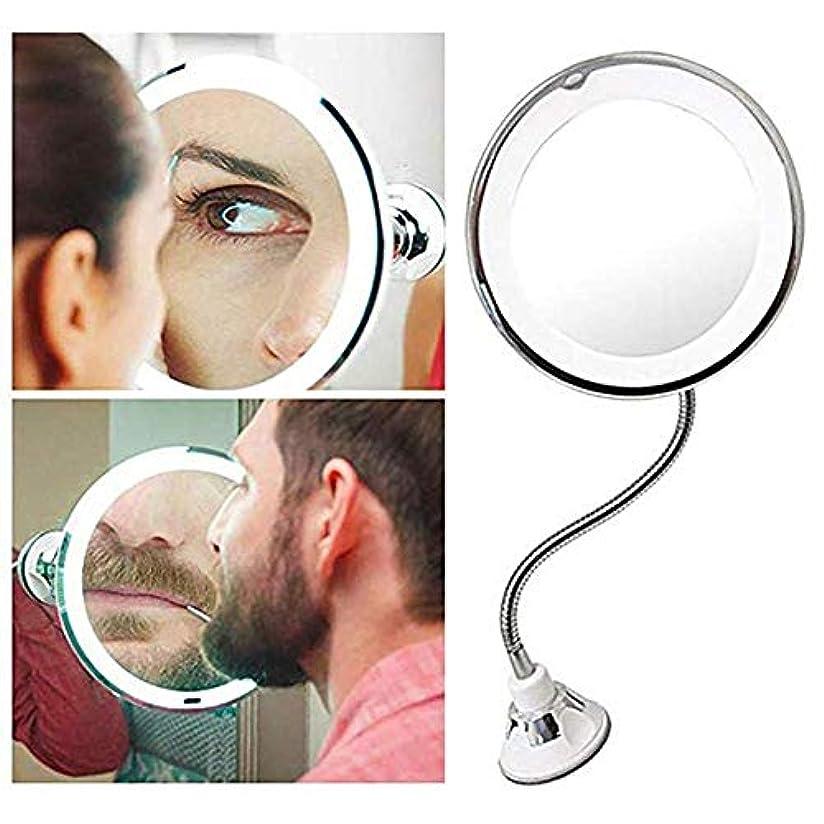 たっぷりフクロウ消費7倍 LED化粧鏡 風呂鏡 吸盤ロック付き 浴室鏡 化粧ミラー 360度回転 メイクミラー LUERME 吸盤ロック付き 化粧ミラー シャワーミラー 鏡面直径17CM