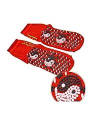 3足自己発熱靴下、トルマリンスポーツセラピーマグネットソックス(ブラック/レッド)