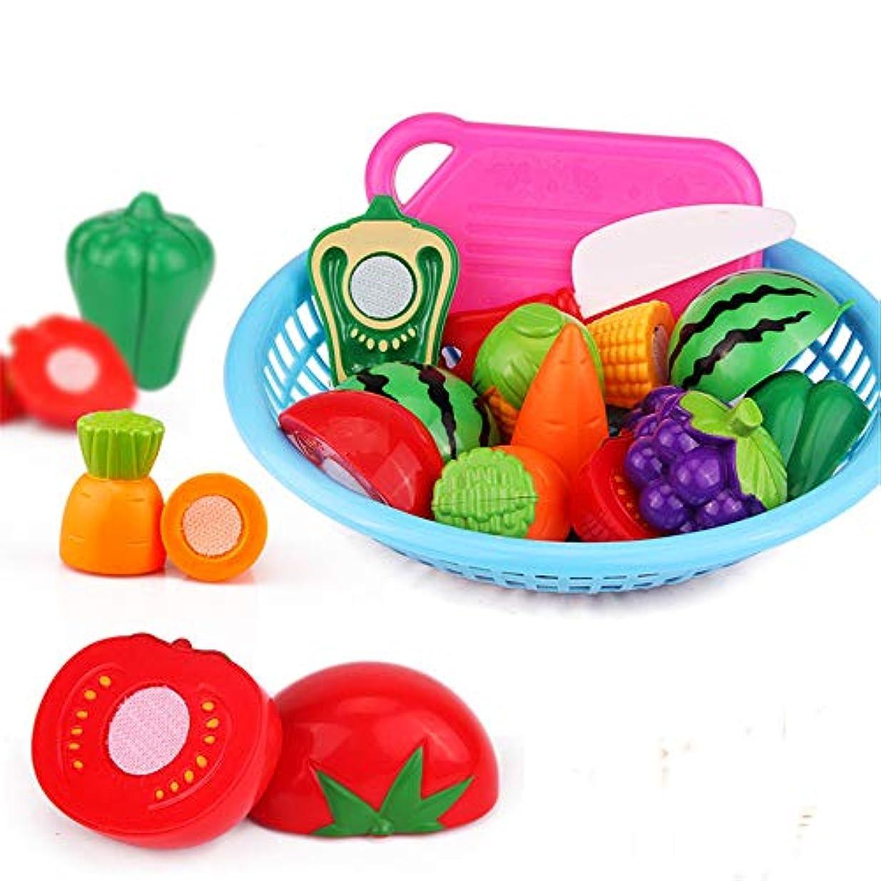 時々時々季節飛行場赤ちゃんおもちゃ 子供 知育玩具 子供向けフードセットプラスチックカット果物と野菜のふりをする教育用おもちゃセット果物と野菜の楽しみふりをする安全で無毒 男の子 女の子 誕生日のプレゼント