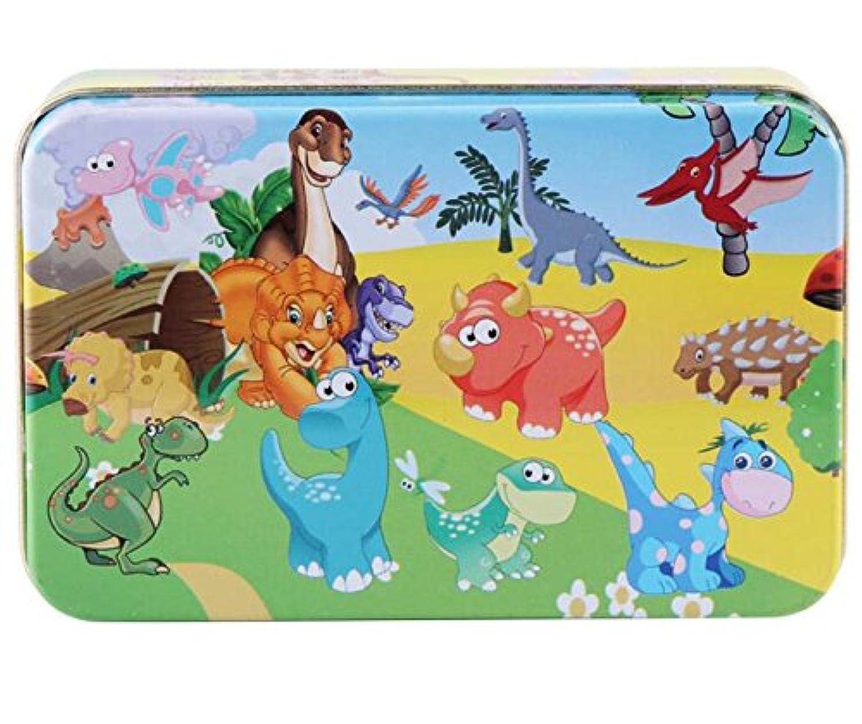 HuaQingPiJu-JP 高品質の木製教育パズルアーリーラーニングの数字の形状色の動物のおもちゃ子供のための素晴らしいギフト(恐竜の土地)