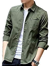 シャツ メンズ オシャレ 長袖 無地 春 夏 秋 細身 シャツ メンズ オックスフォードシャツ 綿 スナップ (#1—グリーン, 3XL)