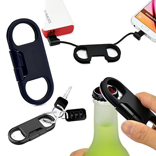 Daite 2.0 Micro ポート充電&同期ケーブル、Android 用、キーチェーンとオープンボトルレバー付き(黒)