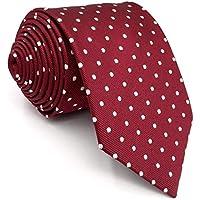 "Shlax&Wing Red Dots Maroon Wedding Necktie Men's Tie Fashion 57.5"" Extra Long 63"""