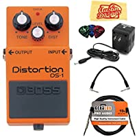 Boss DS-1 Distortion Bundle with Power Supply Instrument Cable Patch Cable Picks and Austin Bazaar Polishing Cloth [並行輸入品]