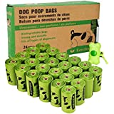 ECO-CLEAN Poop Bags Biodegradable, 24 Rolls/360 Bags with Dispenser, Dog Waste Bags, Unscented, Leak-Proof, Easy Tear-Off