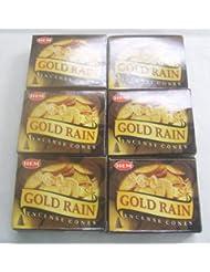 裾ゴールド雨Incense Cones、6パックの10 Cones = 60 Cones
