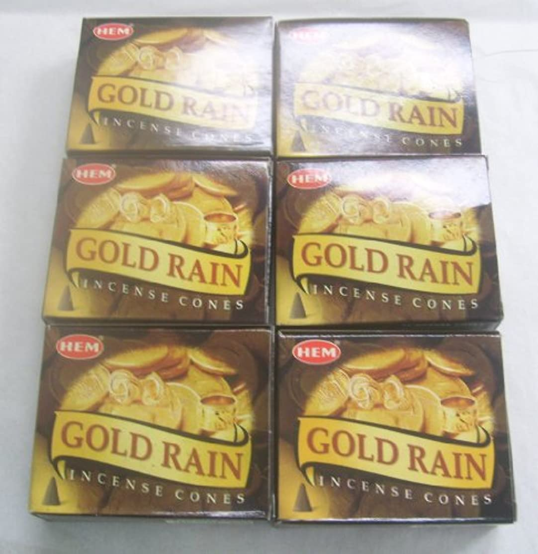 たくさん高潔な悪化させる裾ゴールド雨Incense Cones、6パックの10 Cones = 60 Cones