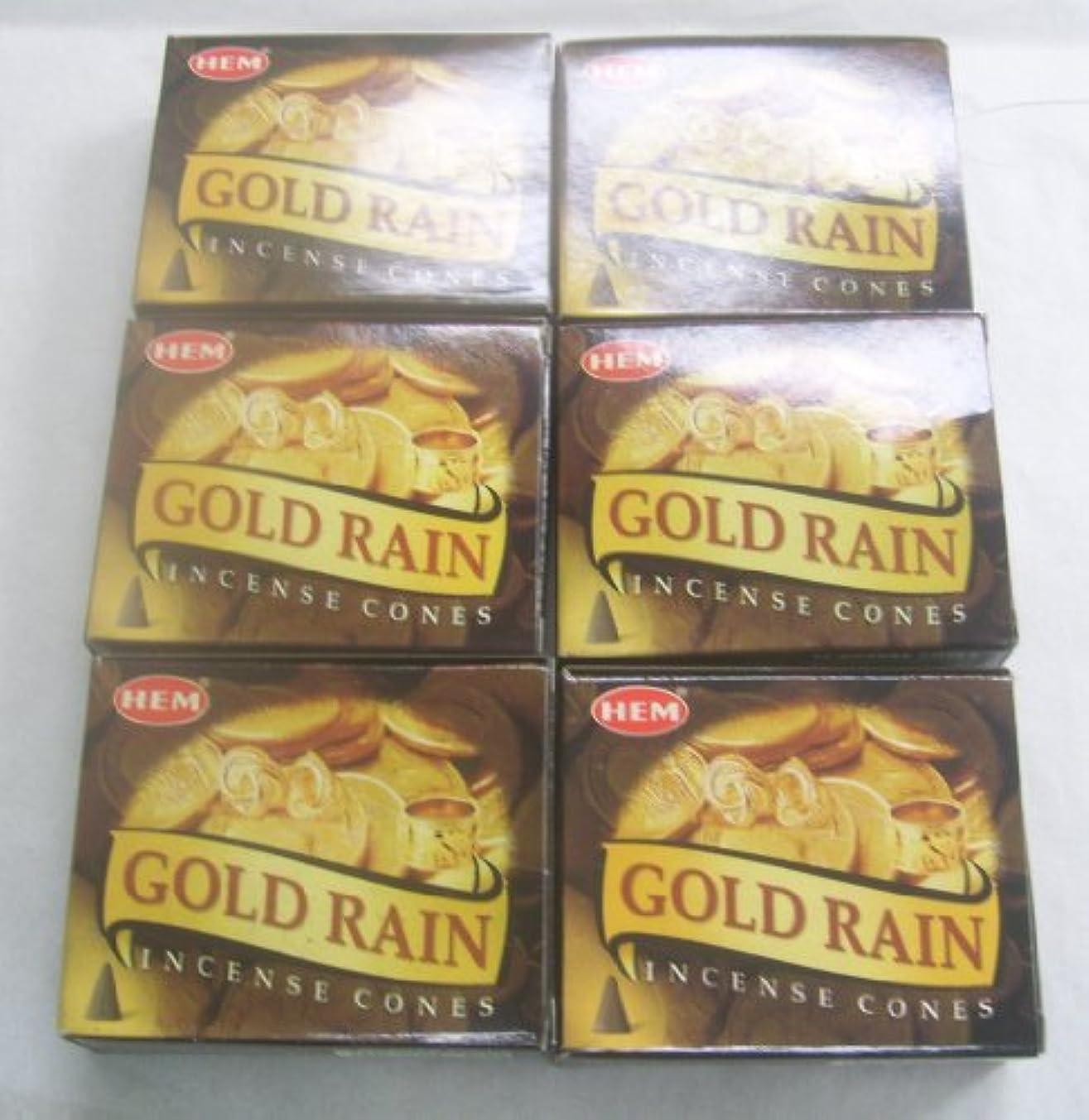 メニューパワーペンス裾ゴールド雨Incense Cones、6パックの10 Cones = 60 Cones