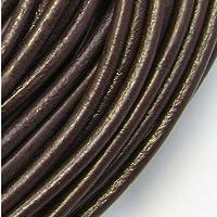 ノーブランド 本革紐 丸タイプ 2.5mm 10cm単位 ブラウン 茶 レザー