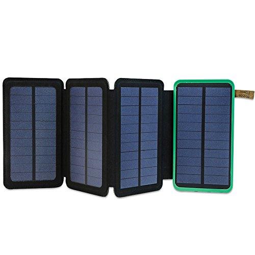 ソーラーチャージャー X-DRAGON モバイルバッテリー 大容量 (10000mAh 2USB出力ポート 2.4A 4枚 ソーラーパネル 折りたたみ LEDランプ搭載 Qpower急速充電) ポータブル充電器 防水 防塵 耐衝撃 iPhone iPad Galaxy カメラ タブレット等 ソーラー充電器 (グリーン)