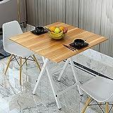 Sogesテーブル折りたたみデスク食卓 簡単にトッププル チークカラー80*80cm 正方形を運ぶために