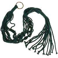 ノーブランド品   4脚 綿 ロープ ホルダー ポット ハンガー バスケット 植物ホルダー 収納バッグ 90cm 6色選べる - グリーン