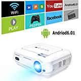 【最新版】 ICOCO-LESHP プロジェクター wifi接続 Bluetooth6.0機能 3200ルーメンフル HD 1080p入力対応 1920x1080最大解像度 ホームシアタープロジェクター Miracast /Airplayに対応 LED無線投影機 台形補正 DVD iPhone ゲーム機 パソコン タブレットスマホ対応 HDMI USB VGA TV入力 PDF日本語説明書 Android 6.01 (ホワイト)