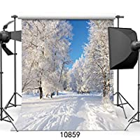 GooEoo 8 x 8フィート白い雪覆われた白樺の写真の背景冬クリスマス写真の背景スタジオの小道具10859