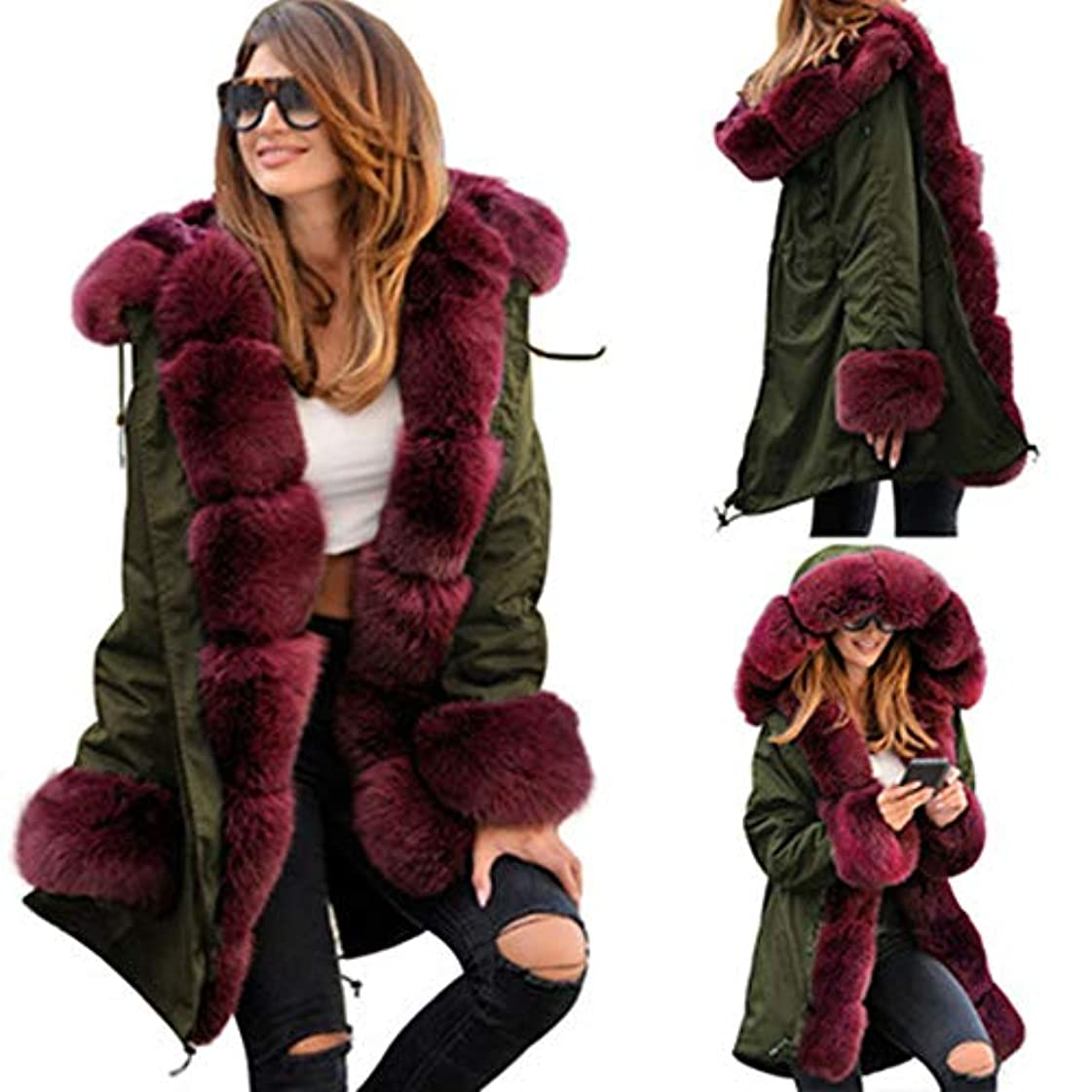 騙すのぞき見複雑ウィンタージャケット女性コットンWaddedフード付きコートカジュアルレディースWarm Parkasレディースウィンターコート,Red,XL