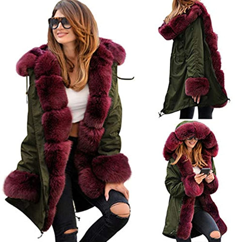 希少性調和フォルダウィンタージャケット女性コットンWaddedフード付きコートカジュアルレディースWarm Parkasレディースウィンターコート,Red,XL
