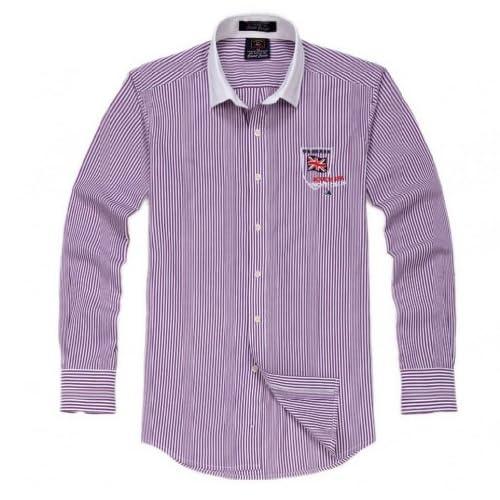 U-SHARKワイシャツ Yシャツ メンズ 男性 長袖 ドレスシャツ クールビズ カッターシャツ カジュアル ビジネス きれい目 プリント (40, 5紫白ストライプ)