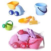 砂場玩具セット YIFAN ソフトラバー 砂場遊び 水遊び 子供用 砂丘カー バレル じょうろ レイク シャベル-カラフル