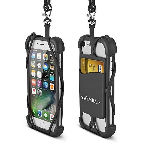 【iPhone 8 ケース】iPhone X カバーユニバーサル携帯電話ひも場合耐衝撃性ポーチ〜とIDカード保有者ネックストラップためにiPhone X 7 6 6S 5 SE Samsung Galaxy S8 S7 S6 Edge Huawei 10P Lite Sony Xperia XZ XZS Android One X2 (黒)