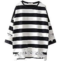 セレクティア(SELECTIA) レディース 長袖 ボーダー Tシャツ カットソー チュニック ラウンド ネック 丸首 ゆったり 体型カバー 白黒 ゼブラ M~XXL