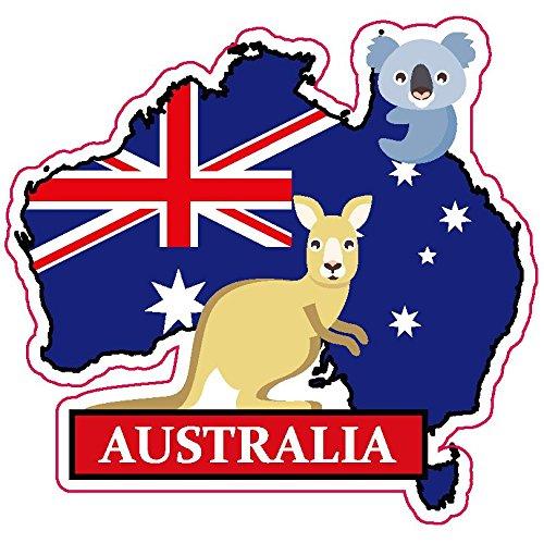 ステッカー オーストラリア ナショナルフラッグ&マップシリーズ 国旗地図 防水紙シール スーツケース・タブレットPC・スケボー・マイカーのドレスアップ・カスタマイズに