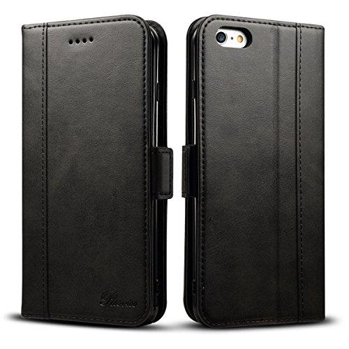 iphone6s ケース 手帳型 iphone6ケース 手帳 Rssviss 高級PUレザー 財布型 アイフォン6sケース カバー カード収納 マグネット スタンド機能 W3 ブラック(iPhone6&6s対応)4.7inch