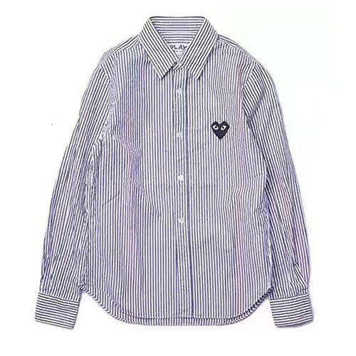 COMME des GARCONS PLAY コム デ ギャルソン ポロシャツ ハートTシャツ カジュアルスタイル ストライプ ボタン ダウン シャツ ロングスリーブ 長袖 トップス 縞 (M, ブルー )
