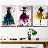 水彩多色女性ポスター抽象的な壁アート、3パネルミニマリスト絵画北欧家の装飾絵画-50×70センチ枠なし