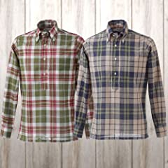 Individualized Shirts Madras Pullover Buttondown Shirt: Green, Salmon Pink