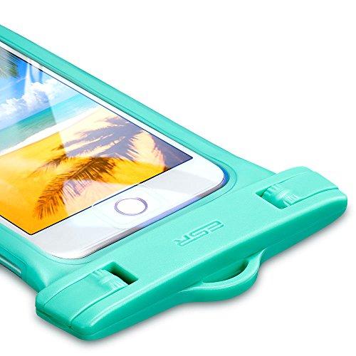 防水ケース ESR、ESR IPX8(防水規格) 防水カバー 入れたままタッチ操作 指紋認証(iPhone 7以降の機種でロック解除可) 対応機種: iPhone X/ 8/8 plus 7/7plus/6s/6/6plus/, Samsung Galaxy S8/S8Plus/S7/S6 Edge その他6インチまでのスマートフォン (ミントグリーン)
