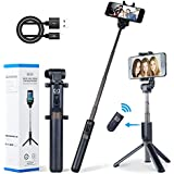 Apexel Selfie Stick Bluetooth Monopod with Foldable Tripod Stand and Remote Control Extendable Aluminum Alloy 360 Rotation Phone Holder for iPhone Xs/XS Max/XR/X/8/8 Plus/7/7 Plus/6s/6 Plus, Galaxy S9/S8/S7 Plus,and more. (Selfie Stick)