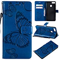 Huawei Y9 2018 Case, Moonmini [ Portable Wallet ] [ Slim Fit ] Heavy Duty Protective 男の子 Flip Cover Wallet Case for Huawei Y9 2018 - Blue