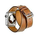 Apple Watch Band Wollpo®Apple watch 高級ベルト 交換バンド アップルウォッチ用 高級ベルト 高級革レザー For apple watch (Double Tour Brown-38mm)