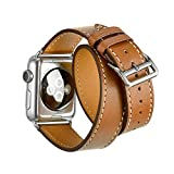 Apple Watch Band Wollpo® 本革 交換バンド 高級 レザー ビジネス用 腕時計ベルト Real Leather Watchband for Apple WatchApple Watch 38mm 本革 交換バンド 高級 レザー ビジネス用 腕時計ベルト Real Leather Watchband for Apple Watch (38mm, 延長型 褐色)