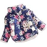 Franterd 冬 女の子 フラワーコート ジャケット 厚手 暖かいトップ ウエストコート 服 0-12M ブルー Franterd-21211