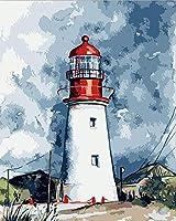 ものみの塔の油絵塗り絵DIYデジタル油絵数値ツールボックス着色手描きの作品装飾壁ステッカー番号30x40cm