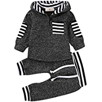 Younger Tree Toddler Baby Girls Boys Plaid Hooded Sweatshirt Pocket Pullover Tops + Long Pants Winter Warm Clothes Set