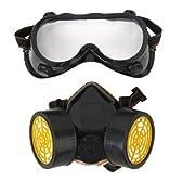 セット メガネゴーグル+Respirator  Mask レスピレーターマスク くもり防止 ほこり防止 シングルカートリッジマスク 工業化学呼吸器 工業塗装用
