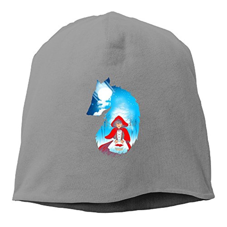 【Dera Princess】 男女兼用 ニット帽 Red Hood Wolfロゴ コットン ニットキャップ 帽子 オールシーズン 被れる
