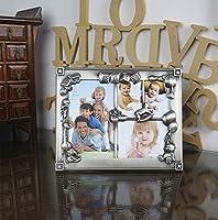 メタルフォトフレームベビーフォトラック3次元の子供の楽しい彫刻罪色の家族写真暖かい家セット26.5x21.5 cm