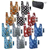 Reusable-Grocery-Bags-Shopping-Totes 12 Pack Animal Bags with Elastic Zipper Bags Xlarge 50LBS Cute Gift Bags Machine Washable Lightweight Sturdy Dogs Elephant Hedgehog Cat Turtle Penguin