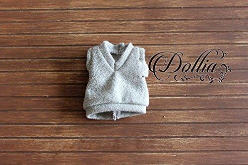 (ドーリア)Dollia ブライス 1/6ドール用 アウトフィット 学生 ベスト セーター ニット ネオブライス ドール 人形 (グレー)