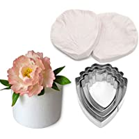 AK ART KITCHENWARE Peony Decoration Tool Leaf and Flower Tool Kit Stainless Steel Cookie Cutter Set Silicone Veining Mould Petal Sugar Flower Making Tool A327 & VM059