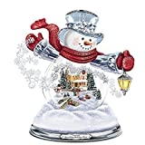 Thomas Kinkade Snowglobe Snowman with LightedシーンPlays 8 Holiday Carols by the Bradford Exchange