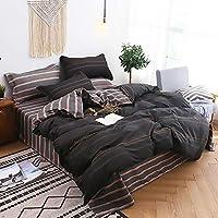 寝具カバーセット 4つの寝具のスリーピースポリエステルキルトカバー枕カバーシンプルなストライプスタイルの快適なサンディング寝具セット (Color : Black, Size : 150*200cm)