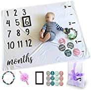 Baby Monthly Milestone Photo Blanket Newborn Infant Growth Chart for New Parents Baby Gifts,Baby Welcome Box w