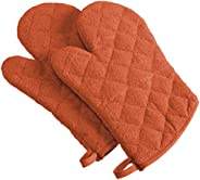 DII 100% Cotton, Terry Oven Mitts 7 x 13, Heat Resistant, Machine Washable for Everyday Kitchen Basic, Set of 2, Spice