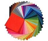 (CHOUCHOU) フェルト 生地 40色 セット 30 × 30cm 厚さ 1mm 刺繍糸 付き (40色セット)